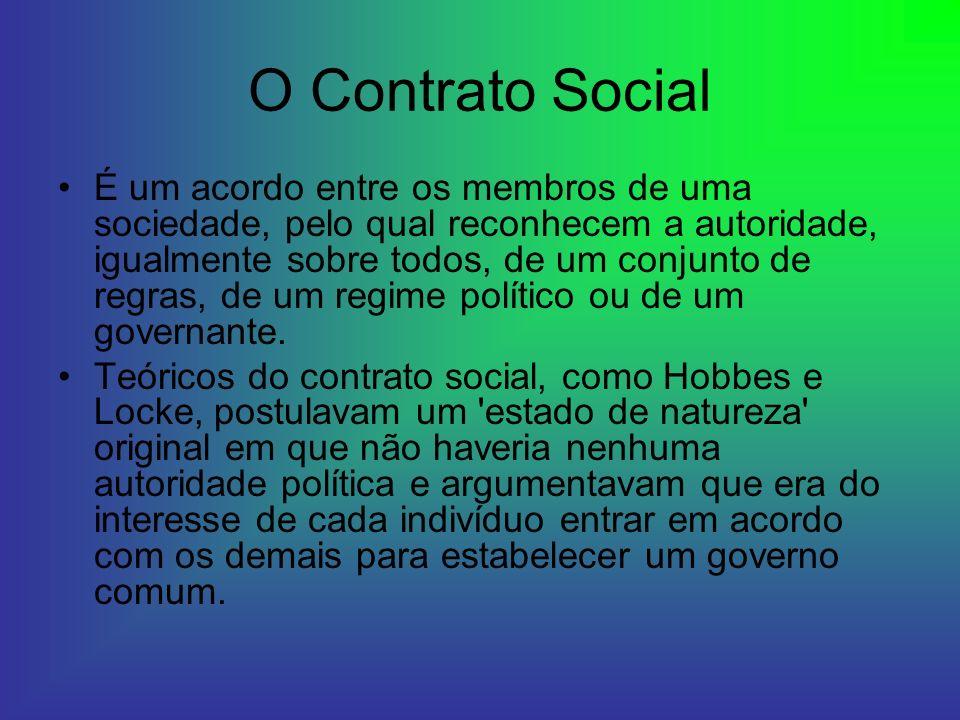 O Contrato Social É um acordo entre os membros de uma sociedade, pelo qual reconhecem a autoridade, igualmente sobre todos, de um conjunto de regras,