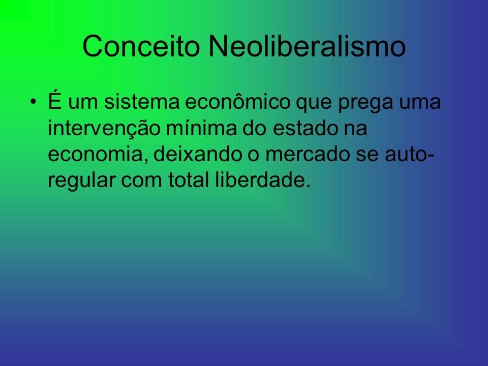 Conceito Neoliberalismo É um sistema econômico que prega uma intervenção mínima do estado na economia, deixando o mercado se auto- regular com total l