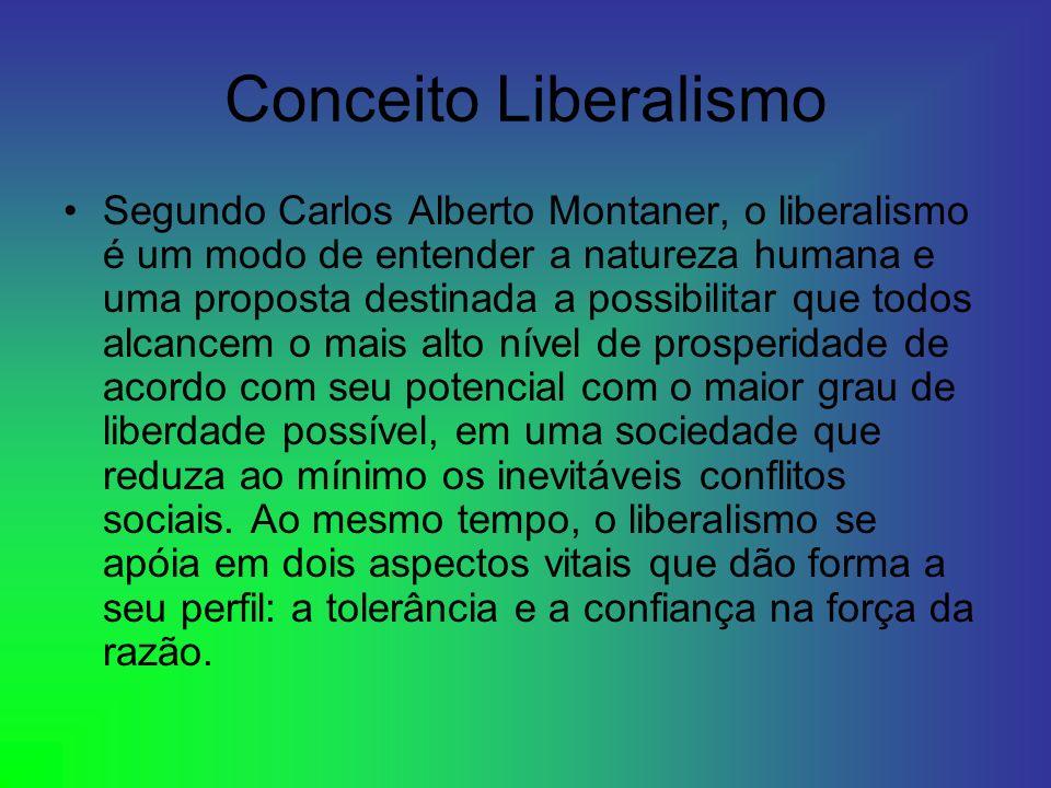 Conceito Liberalismo Segundo Carlos Alberto Montaner, o liberalismo é um modo de entender a natureza humana e uma proposta destinada a possibilitar qu