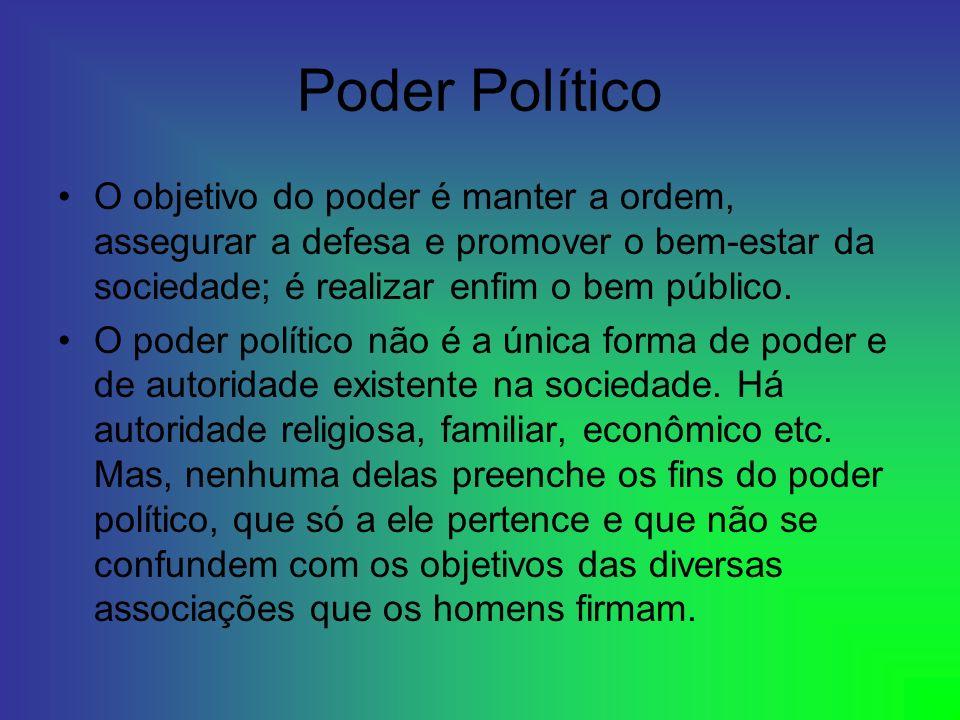 Poder Político O objetivo do poder é manter a ordem, assegurar a defesa e promover o bem-estar da sociedade; é realizar enfim o bem público. O poder p