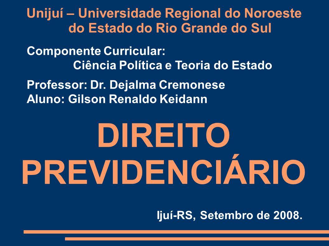 Unijuí – Universidade Regional do Noroeste do Estado do Rio Grande do Sul Componente Curricular: Ciência Política e Teoria do Estado Professor: Dr. De