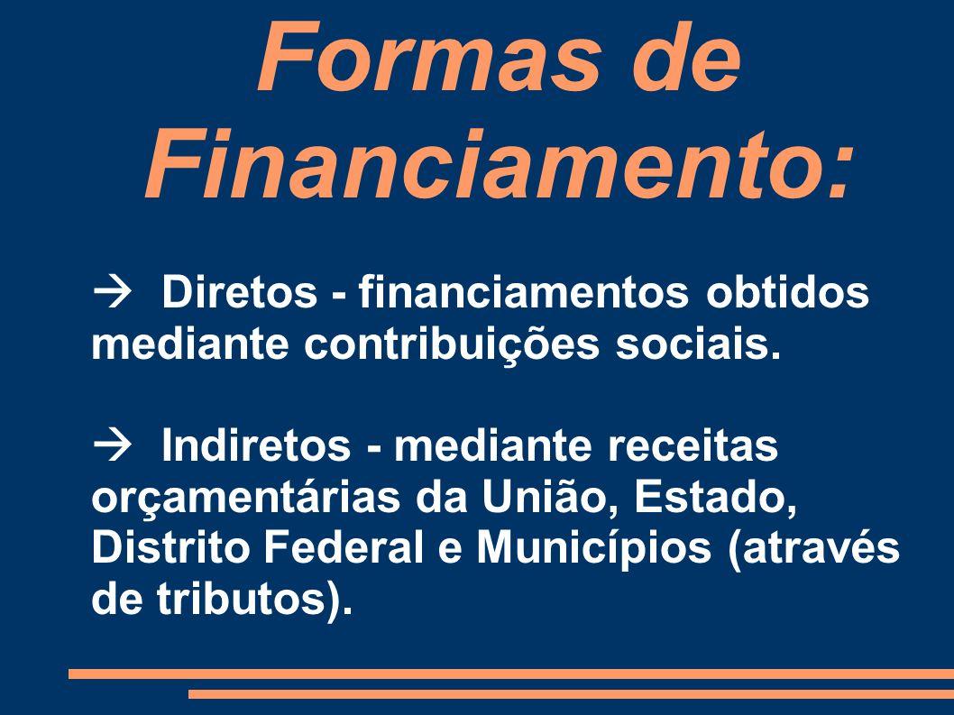 Formas de Financiamento: Diretos - financiamentos obtidos mediante contribuições sociais. Indiretos - mediante receitas orçamentárias da União, Estado