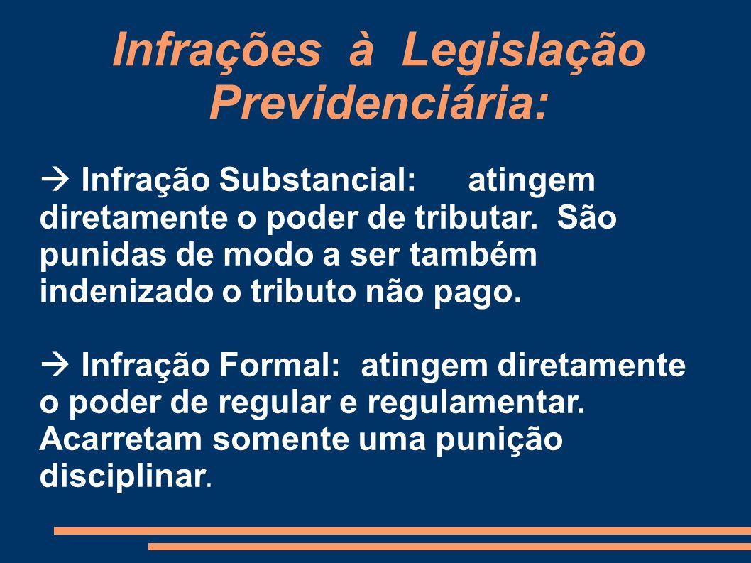 Infrações à Legislação Previdenciária: Infração Substancial:atingem diretamente o poder de tributar. São punidas de modo a ser também indenizado o tri