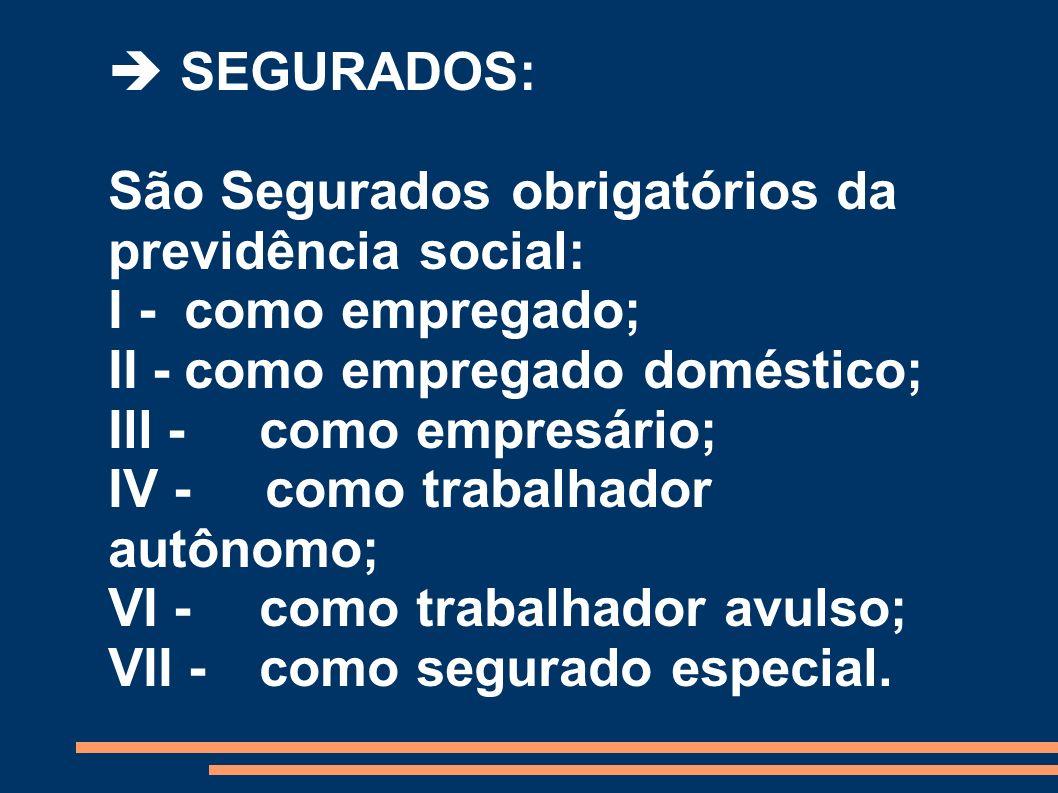 SEGURADOS: São Segurados obrigatórios da previdência social: I -como empregado; II -como empregado doméstico; Ill - como empresário; IV - como trabalh