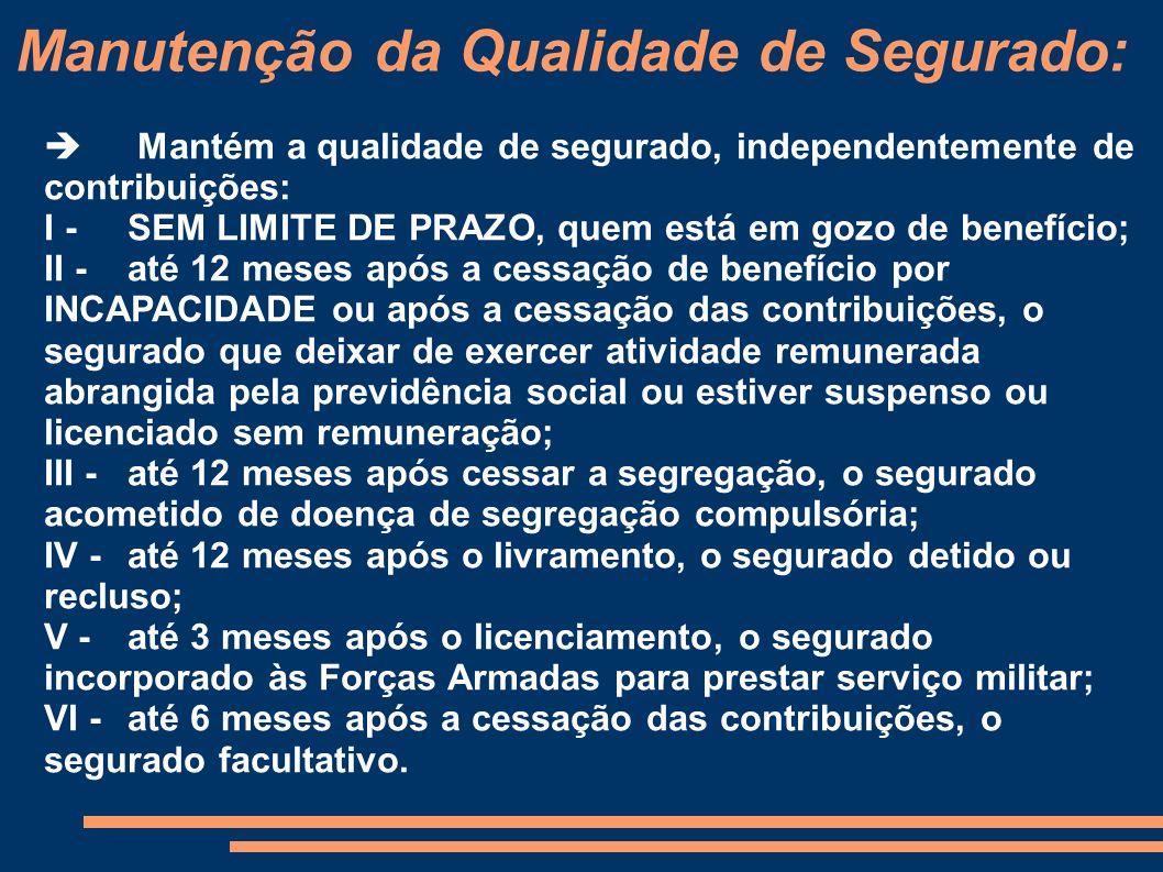 Manutenção da Qualidade de Segurado: Mantém a qualidade de segurado, independentemente de contribuições: I -SEM LIMITE DE PRAZO, quem está em gozo de