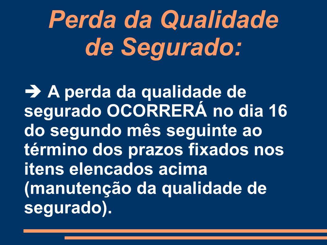Perda da Qualidade de Segurado: A perda da qualidade de segurado OCORRERÁ no dia 16 do segundo mês seguinte ao término dos prazos fixados nos itens el