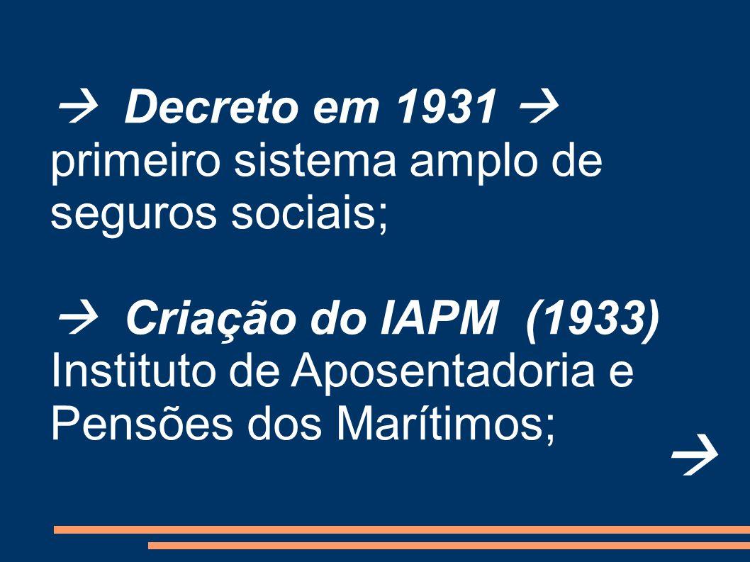 Decreto em 1931 primeiro sistema amplo de seguros sociais; Criação do IAPM (1933) Instituto de Aposentadoria e Pensões dos Marítimos;