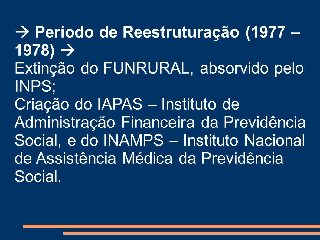 Período de Reestruturação (1977 – 1978) Extinção do FUNRURAL, absorvido pelo INPS; Criação do IAPAS – Instituto de Administração Financeira da Previdê