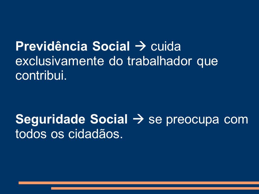 Previdência Social cuida exclusivamente do trabalhador que contribui. Seguridade Social se preocupa com todos os cidadãos.