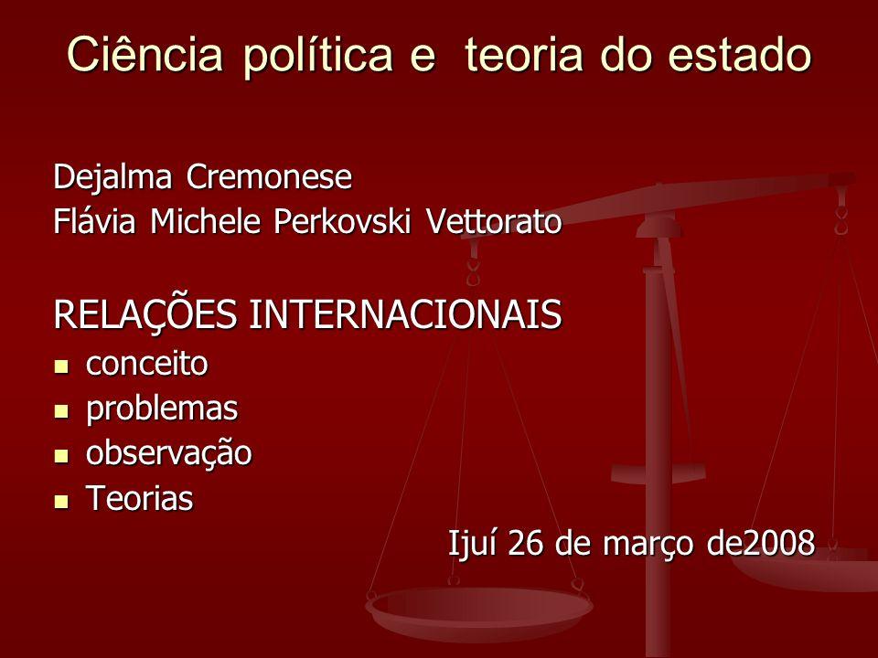 Ciência política e teoria do estado Dejalma Cremonese Flávia Michele Perkovski Vettorato RELAÇÕES INTERNACIONAIS conceito conceito problemas problemas