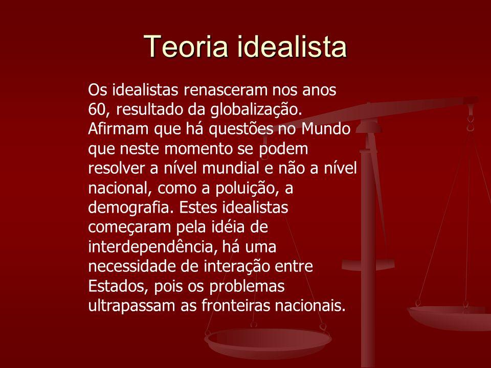 Os idealistas renasceram nos anos 60, resultado da globalização. Afirmam que há questões no Mundo que neste momento se podem resolver a nível mundial
