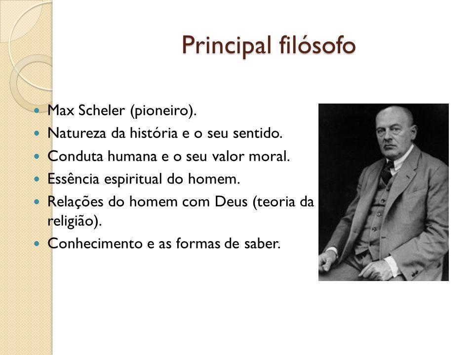 Principal filósofo Max Scheler (pioneiro). Natureza da história e o seu sentido. Conduta humana e o seu valor moral. Essência espiritual do homem. Rel