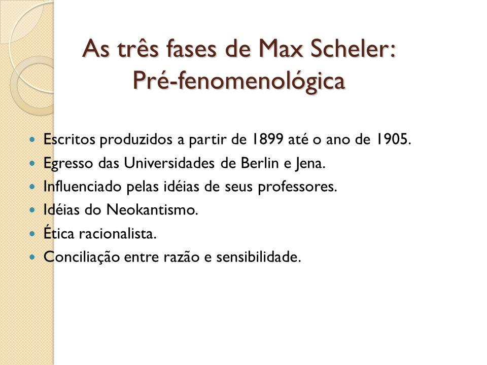 As três fases de Max Scheler: Pré-fenomenológica Escritos produzidos a partir de 1899 até o ano de 1905. Egresso das Universidades de Berlin e Jena. I