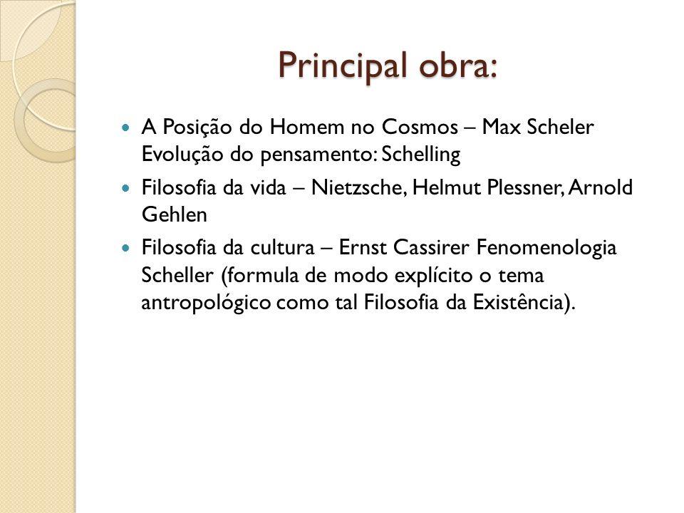 Principal obra: A Posição do Homem no Cosmos – Max Scheler Evolução do pensamento: Schelling Filosofia da vida – Nietzsche, Helmut Plessner, Arnold Ge