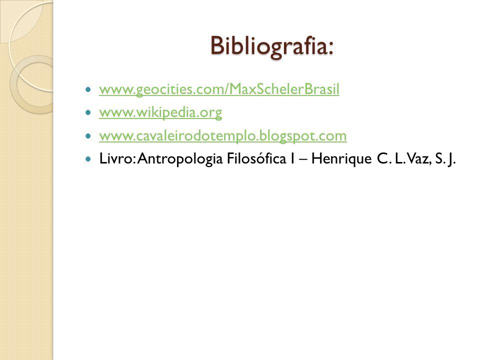 Bibliografia: www.geocities.com/MaxSchelerBrasil www.wikipedia.org www.cavaleirodotemplo.blogspot.com Livro: Antropologia Filosófica I – Henrique C. L