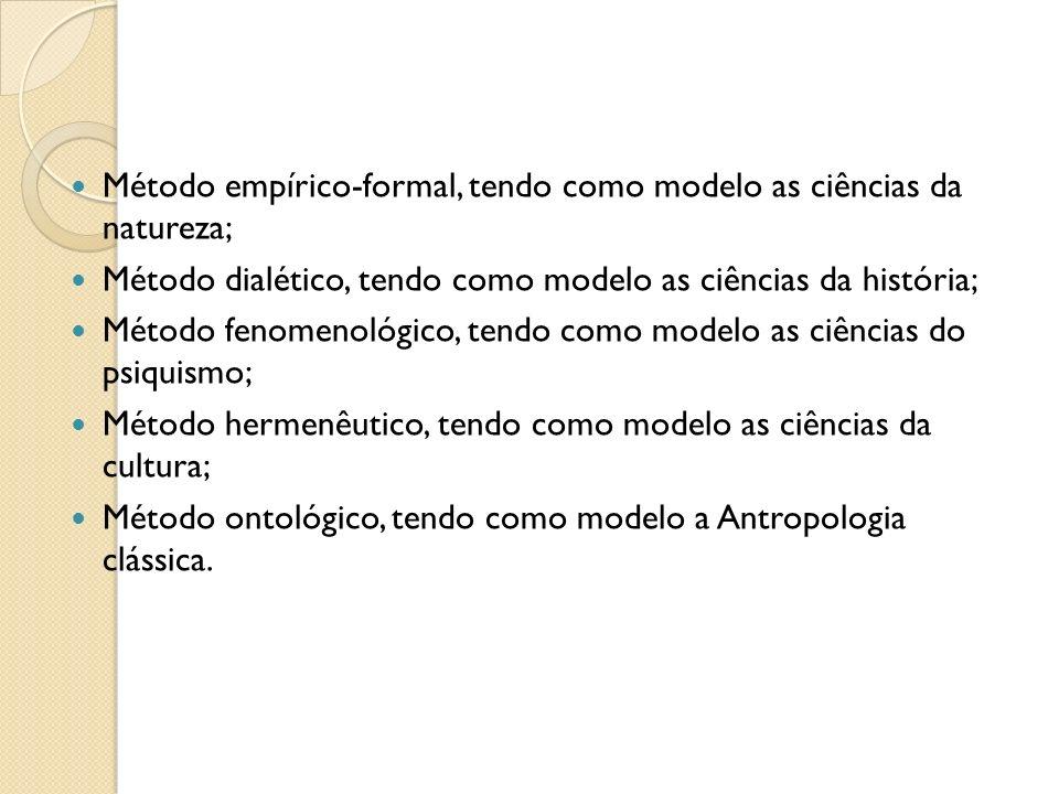 Método empírico-formal, tendo como modelo as ciências da natureza; Método dialético, tendo como modelo as ciências da história; Método fenomenológico,