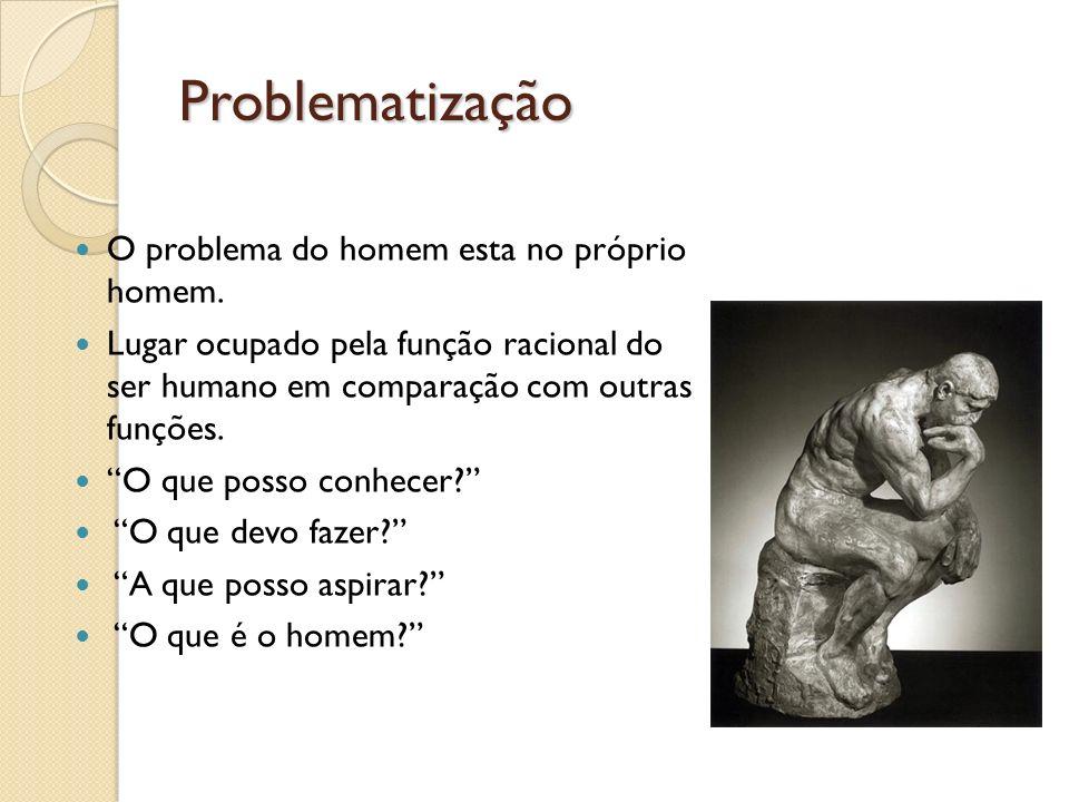 Problematização O problema do homem esta no próprio homem. Lugar ocupado pela função racional do ser humano em comparação com outras funções. O que po