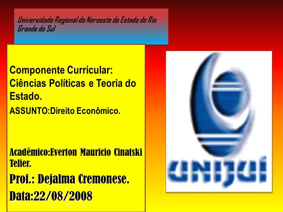 Universidade Regional do Noroeste do Estado do Rio Grande do Sul Componente Curricular: Ciências Políticas e Teoria do Estado.