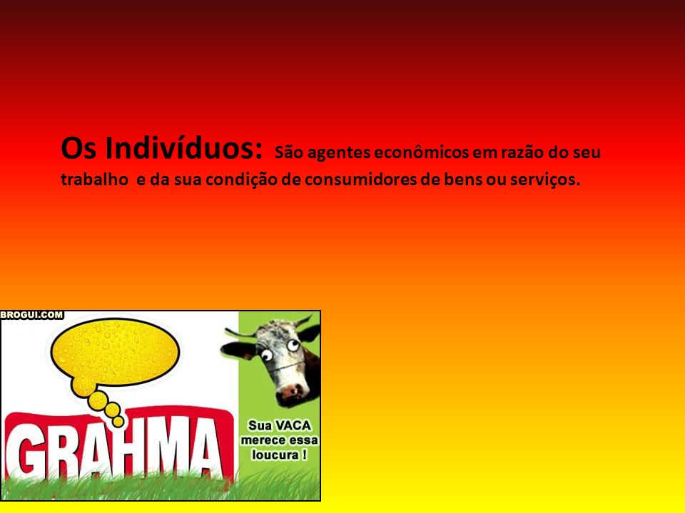 Os Indivíduos: São agentes econômicos em razão do seu trabalho e da sua condição de consumidores de bens ou serviços.