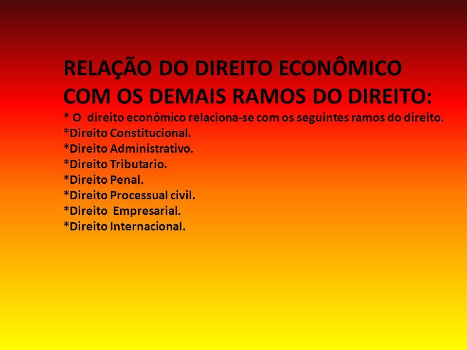 RELAÇÃO DO DIREITO ECONÔMICO COM OS DEMAIS RAMOS DO DIREITO: * O direito econômico relaciona-se com os seguintes ramos do direito.