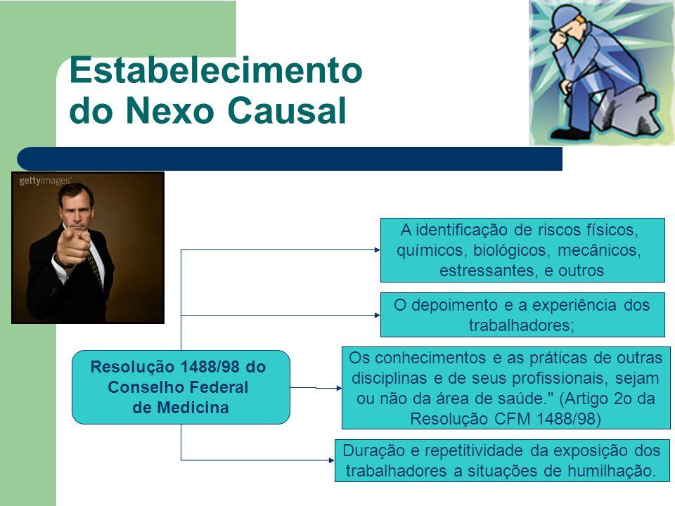 Estabelecimento do Nexo Causal O depoimento e a experiência dos trabalhadores; A identificação de riscos físicos, químicos, biológicos, mecânicos, est