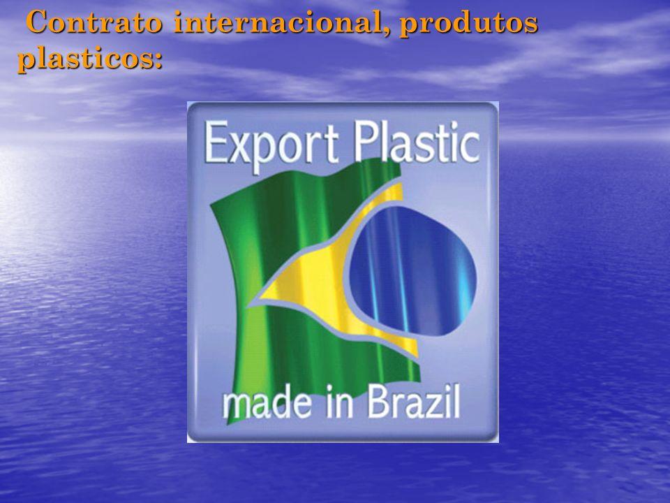 Contrato internacional, produtos plasticos: Contrato internacional, produtos plasticos: