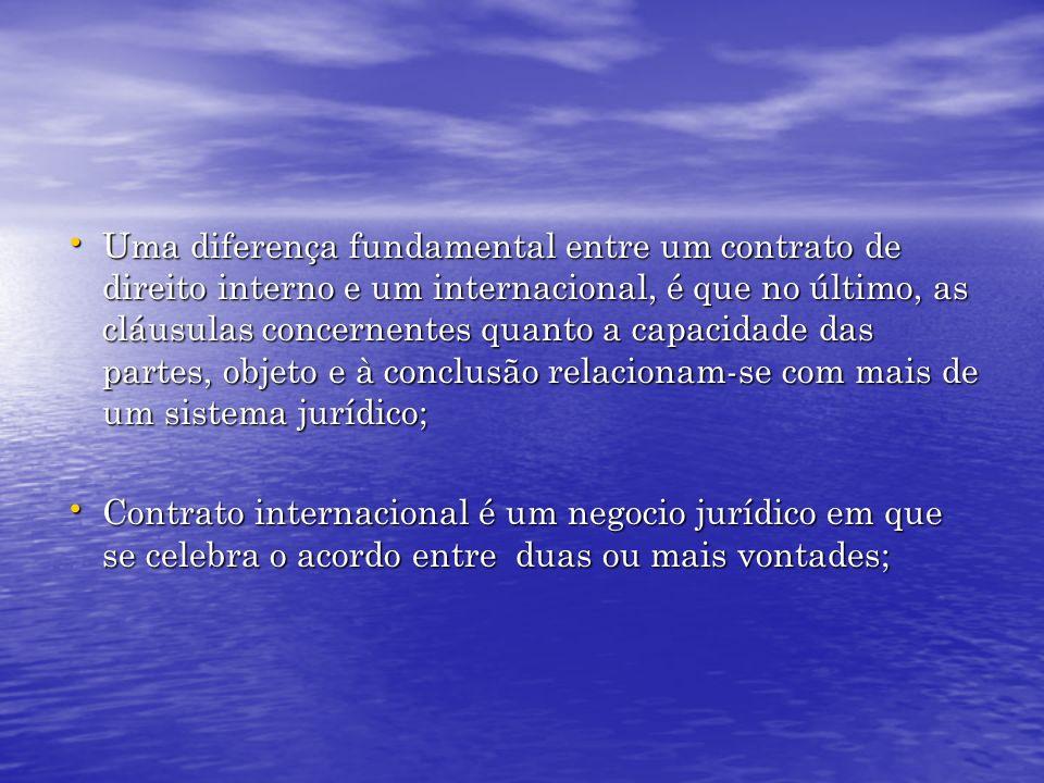 Uma diferença fundamental entre um contrato de direito interno e um internacional, é que no último, as cláusulas concernentes quanto a capacidade das