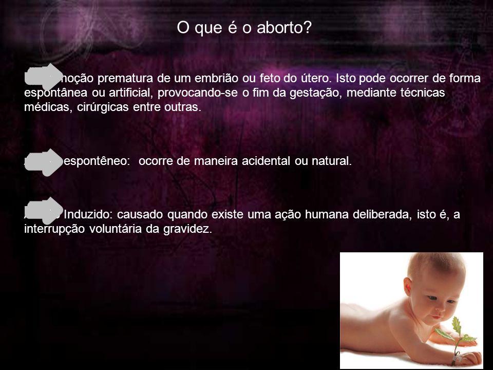 O que é o aborto. É a remoção prematura de um embrião ou feto do útero.