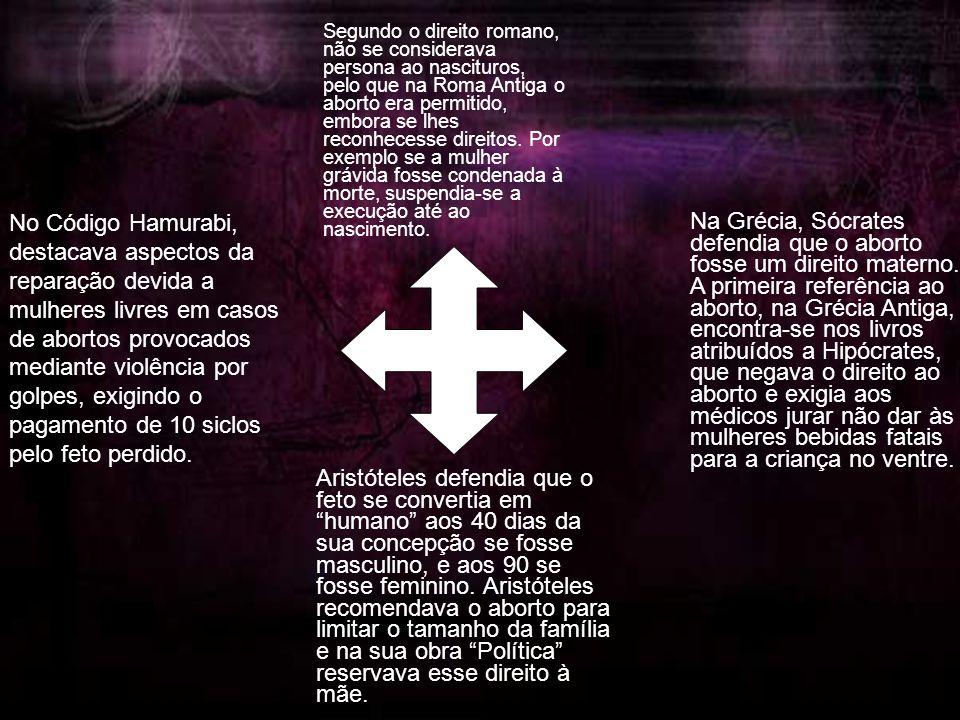 No Código Hamurabi, destacava aspectos da reparação devida a mulheres livres em casos de abortos provocados mediante violência por golpes, exigindo o pagamento de 10 siclos pelo feto perdido.