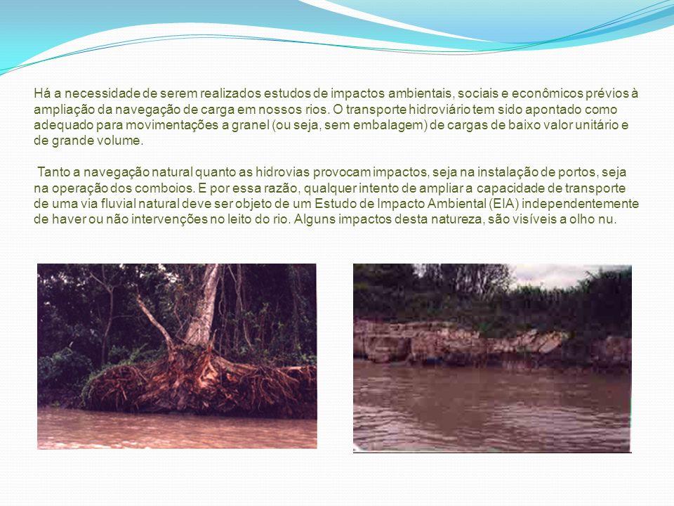 Há a necessidade de serem realizados estudos de impactos ambientais, sociais e econômicos prévios à ampliação da navegação de carga em nossos rios. O