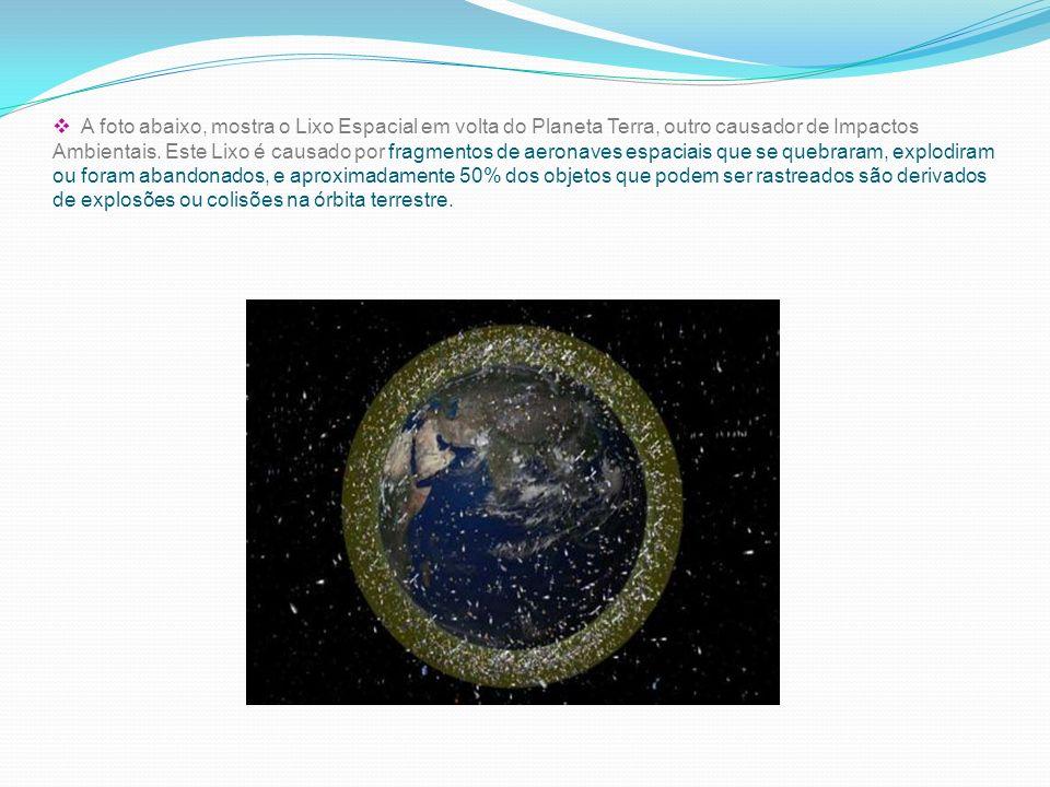 A foto abaixo, mostra o Lixo Espacial em volta do Planeta Terra, outro causador de Impactos Ambientais.