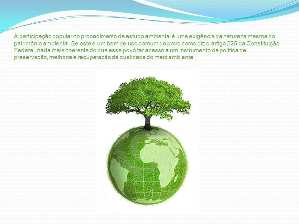 A participação popular no procedimento de estudo ambiental é uma exigência da natureza mesma do patrimônio ambiental. Se este é um bem de uso comum do