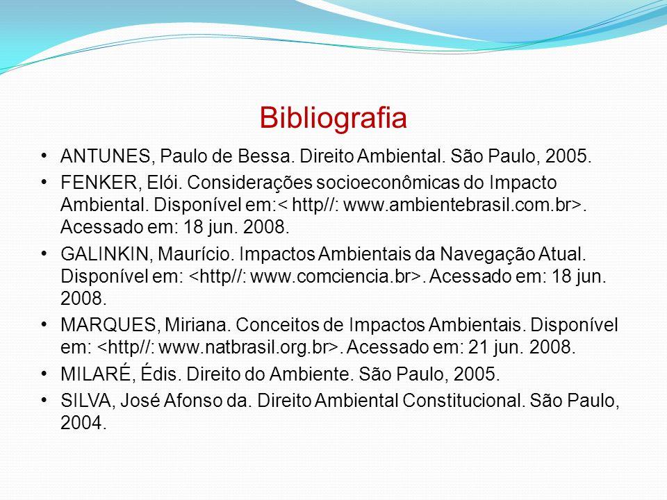 Bibliografia ANTUNES, Paulo de Bessa. Direito Ambiental. São Paulo, 2005. FENKER, Elói. Considerações socioeconômicas do Impacto Ambiental. Disponível