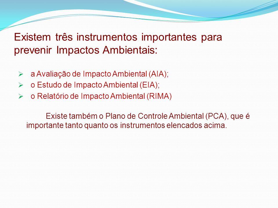 Existem três instrumentos importantes para prevenir Impactos Ambientais: a Avaliação de Impacto Ambiental (AIA); o Estudo de Impacto Ambiental (EIA); o Relatório de Impacto Ambiental (RIMA) Existe também o Plano de Controle Ambiental (PCA), que é importante tanto quanto os instrumentos elencados acima.