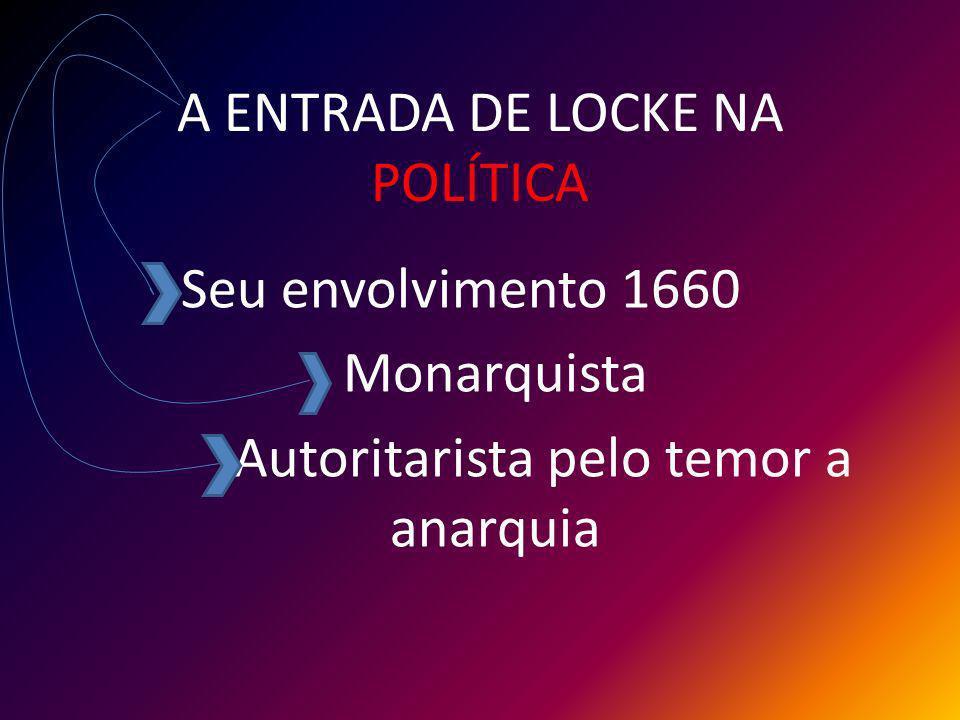 A ENTRADA DE LOCKE NA POLÍTICA Seu envolvimento 1660 Monarquista Autoritarista pelo temor a anarquia