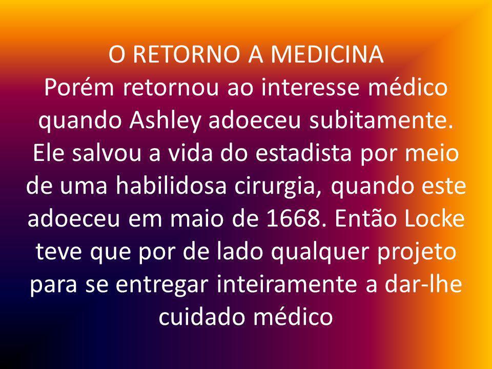 O RETORNO A MEDICINA Porém retornou ao interesse médico quando Ashley adoeceu subitamente.