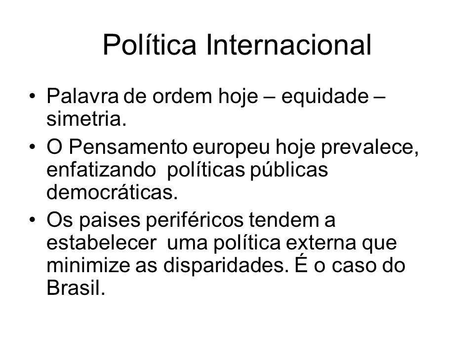 Política Internacional Palavra de ordem hoje – equidade – simetria. O Pensamento europeu hoje prevalece, enfatizando políticas públicas democráticas.