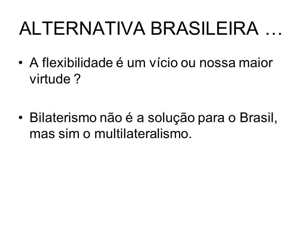ALTERNATIVA BRASILEIRA … A flexibilidade é um vício ou nossa maior virtude ? Bilaterismo não é a solução para o Brasil, mas sim o multilateralismo.