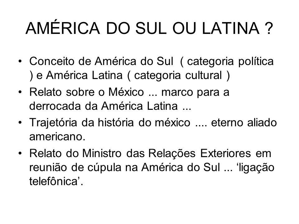 AMÉRICA DO SUL OU LATINA ? Conceito de América do Sul ( categoria política ) e América Latina ( categoria cultural ) Relato sobre o México... marco pa