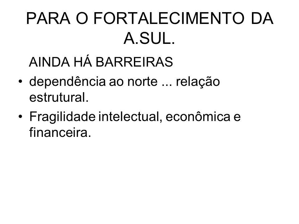 PARA O FORTALECIMENTO DA A.SUL. AINDA HÁ BARREIRAS dependência ao norte... relação estrutural. Fragilidade intelectual, econômica e financeira.