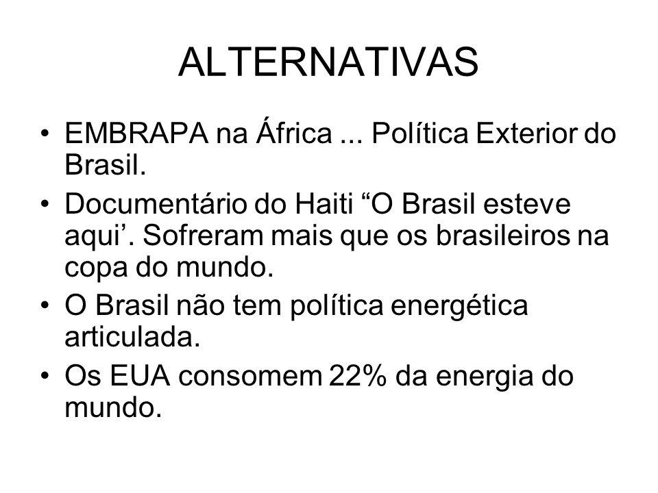 ALTERNATIVAS EMBRAPA na África... Política Exterior do Brasil. Documentário do Haiti O Brasil esteve aqui. Sofreram mais que os brasileiros na copa do