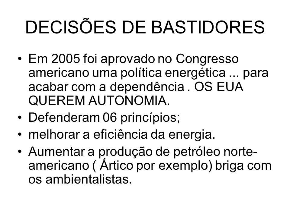 DECISÕES DE BASTIDORES Em 2005 foi aprovado no Congresso americano uma política energética... para acabar com a dependência. OS EUA QUEREM AUTONOMIA.
