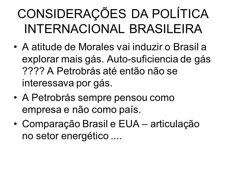 CONSIDERAÇÕES DA POLÍTICA INTERNACIONAL BRASILEIRA A atitude de Morales vai induzir o Brasil a explorar mais gás. Auto-suficiencia de gás ???? A Petro