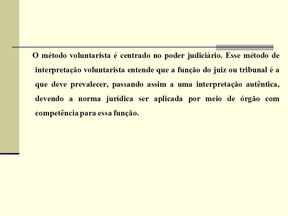 O método voluntarista é centrado no poder judiciário. Esse método de interpretação voluntarista entende que a função do juiz ou tribunal é a que deve