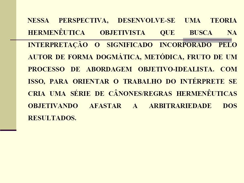 NESSA PERSPECTIVA, DESENVOLVE-SE UMA TEORIA HERMENÊUTICA OBJETIVISTA QUE BUSCA NA INTERPRETAÇÃO O SIGNIFICADO INCORPORADO PELO AUTOR DE FORMA DOGMÁTIC