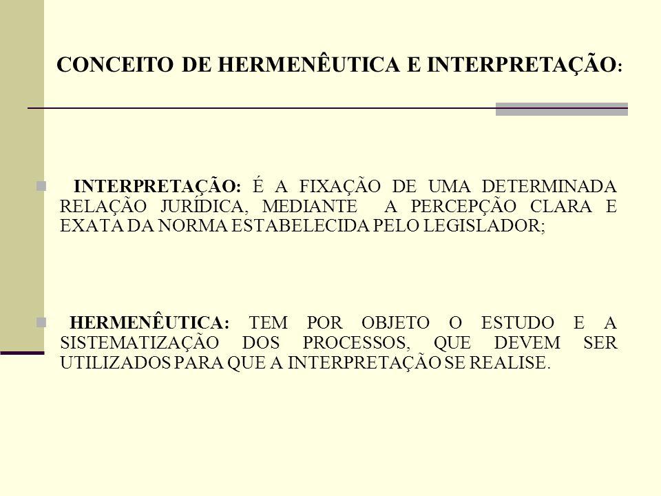 INTERPRETAÇÃO: É A FIXAÇÃO DE UMA DETERMINADA RELAÇÃO JURÍDICA, MEDIANTE A PERCEPÇÃO CLARA E EXATA DA NORMA ESTABELECIDA PELO LEGISLADOR; HERMENÊUTICA