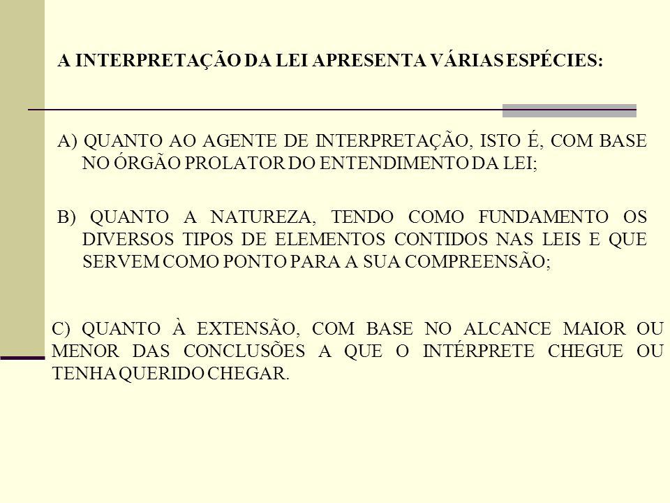 A INTERPRETAÇÃO DA LEI APRESENTA VÁRIAS ESPÉCIES: A) QUANTO AO AGENTE DE INTERPRETAÇÃO, ISTO É, COM BASE NO ÓRGÃO PROLATOR DO ENTENDIMENTO DA LEI; B)