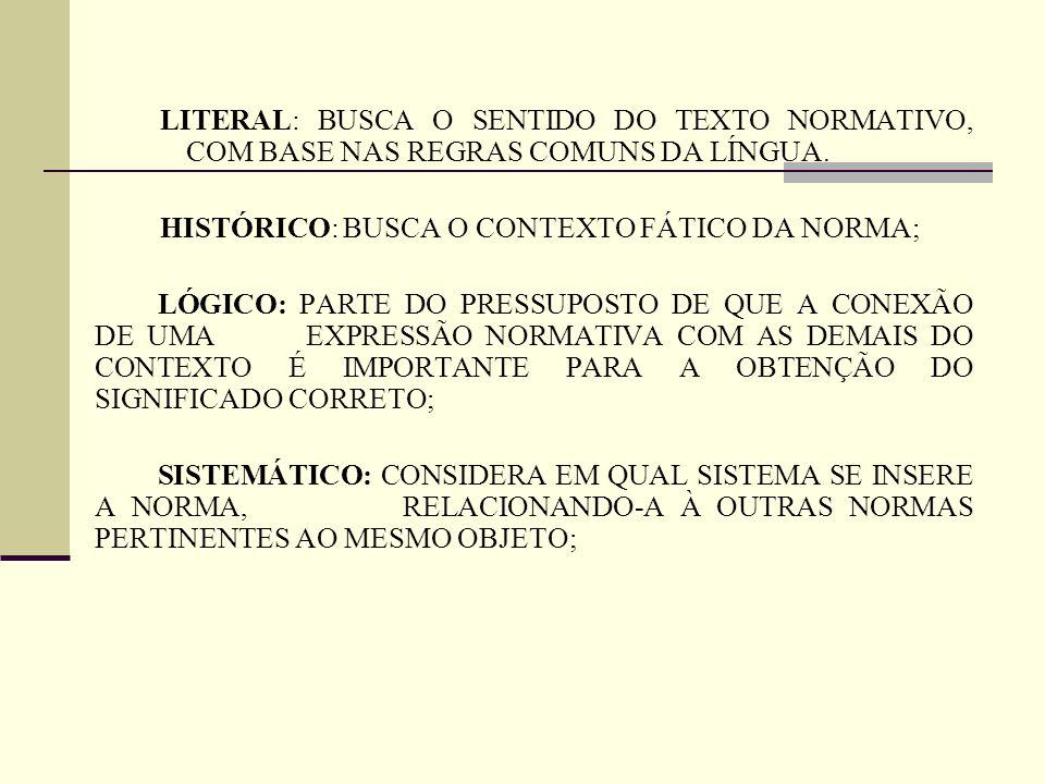 LITERAL: BUSCA O SENTIDO DO TEXTO NORMATIVO, COM BASE NAS REGRAS COMUNS DA LÍNGUA. HISTÓRICO: BUSCA O CONTEXTO FÁTICO DA NORMA; LÓGICO: PARTE DO PRESS