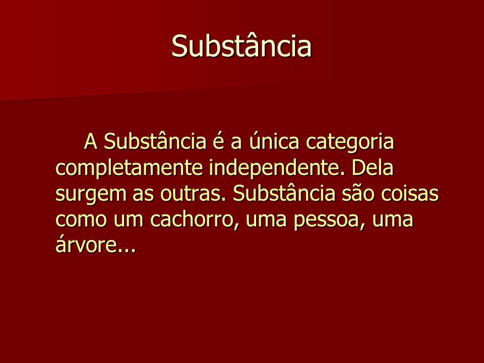 Substância A Substância é a única categoria completamente independente. Dela surgem as outras. Substância são coisas como um cachorro, uma pessoa, uma