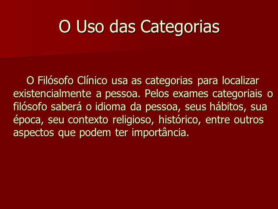 O Uso das Categorias O Filósofo Clínico usa as categorias para localizar existencialmente a pessoa. Pelos exames categoriais o filósofo saberá o idiom